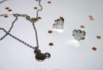 Parure thème Minnie, en acier inoxydable, collier + boucles d'oreilles