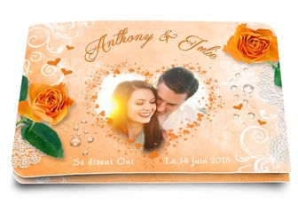 Faire-part de mariage Amour Orange
