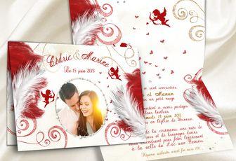 Anges et plumes pour un somptueux faire-part de mariage