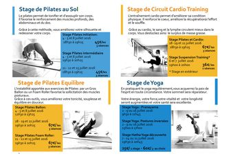 Stage Pilates - Yoga - Cardio training - juillet 2016