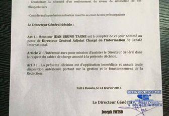 Jean Bruno Tagne rejoint Canal 2 en qualité de DG Adjoint