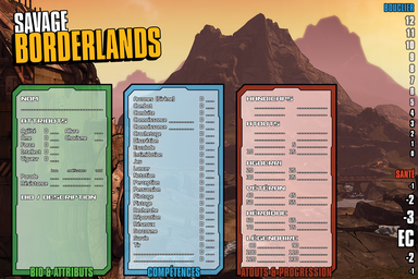 Savage Borderlands — Fiches de personnage