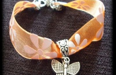 Bracelet liberty orange papillon