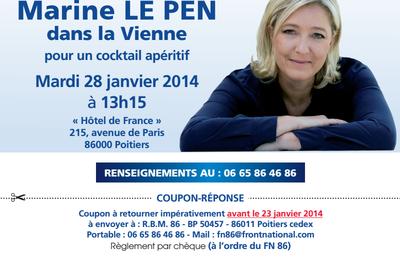 Marine Le Pen le mardi 28 Janvier à Poitiers pour un repas débat à 13H15 - INSCRIVEZ VOUS