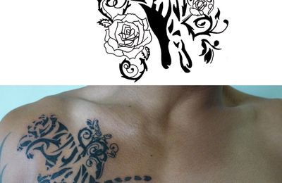 Tatoo tigre, roses et ronces