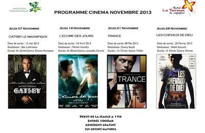 Programme cinéma du mois novembre