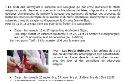 Programme des activités de septembre à fin décembre 2014