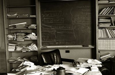 Albert Einstein's office, photographed on the day of his death.