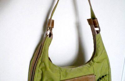 Sac d'été toile et cuir Lancaster vert et Marron 35 euros (vendu !)