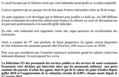 Réaction FO contre la suppression de l'indemnité exceptionnelle de compensation de la CSG