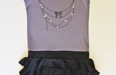 Robe tee shirt fausse jupe bijoux taupe noir 12-14ans