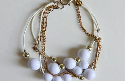 Bracelet cordes chaines perles blanches métal cuivré