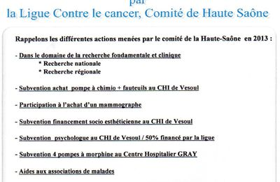Actions menées en 2013 par la Ligue contre le cancer de Hte Saône