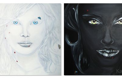 Painting : Quadriptyque light vs dark / clair-obscur (Angelina Jolie - Holly Brisley)