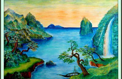 Paysage japonnais à la cascade