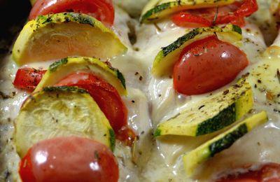 Suprêmes de poulet farci aux courgettes, tomates et fromage