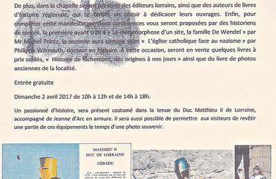 2 avril 2017 - Journée consacrée à l'histoire locale au château de Pépinville - Richemont