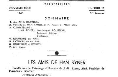 J.-H. Rosny aîné dans les Cahiers des Amis de Han Ryner, nouvelle série, n°11 (1948)