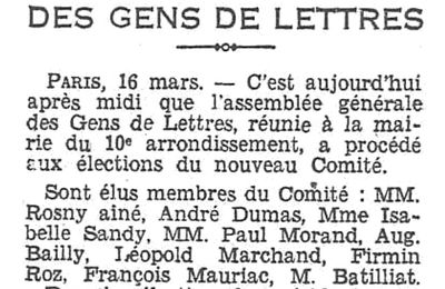 Brève : A la Societé des Gens De Lettres (1930)
