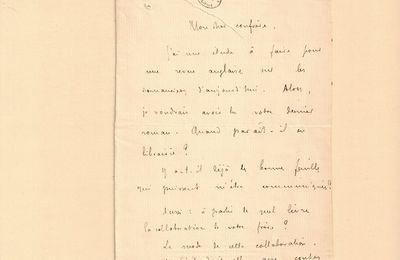 L.A.S. de Remy de Gourmont à J.-H. Rosny aîné (1er octobre 1908)