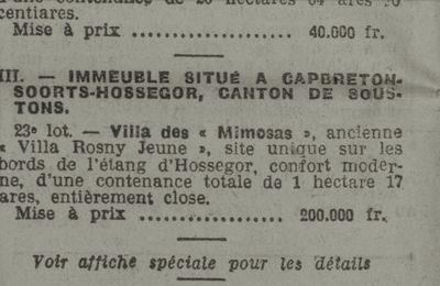 Vente de la Villa des « Mimosas », ancienne « Villa Rosny Jeune » (1923)