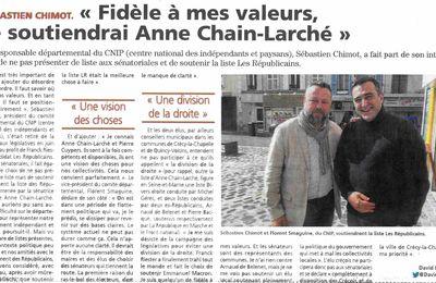 Le Pays Briard de ce matin : le CNIP soutient Anne Chain-Larché et la liste LR aux Sénatoriales !