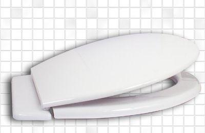 WC Sitz WC Deckel Klodeckel Material PP Kunststoff Antibakteriell Charniere aus Plastik Grösse 46,5 x 36,2 cm Farbe Weiss STYLE EUROPA