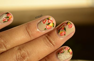 [nail art] bouquet fleurie