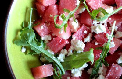 Salade de pastèque, feta et roquette