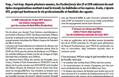 INFO : Centres financiers – Back office, la colère gronde !