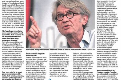 Nice Matin - Interview de JC Mailly du 12 septembre 2017