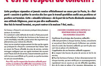 Courrier/distribution – Le respect des horaires, c'est le respect du collectif !