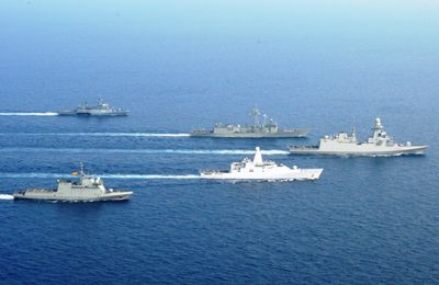 Operation Atalanta Warships Meet at Sea in the Gulf of Aden