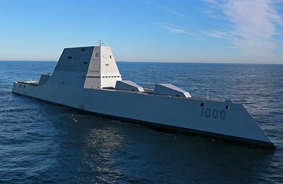 Future USS Zumwalt underway for the first time conducting at-sea tests and trials in the Atlantic Ocean