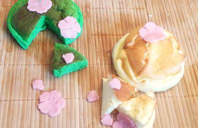 Le cheesecake à la japonaise (nature et coco-pandan)