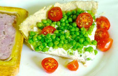 Tarte aux petits pois et fromage frais