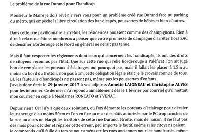 COMMENT VIVRE L'HANDICAP RUE DURAND