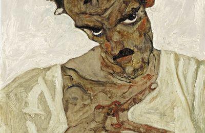 Self-Portrait with Lowered Head, Egon Schiele