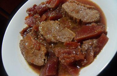 Filet de canard aux betteraves rouges (cuites) en cocotte