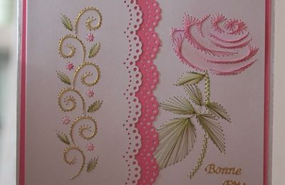 Carte Rose brodée