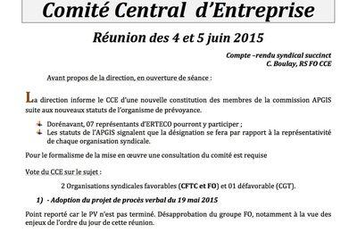 CCE ERTECO FRANCE: réunion des 4 et 5 juin
