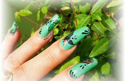nail art papillons aquarelle