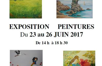 Belle affluence au vernissage, à la chapelle Saint Jean.. Exposition de peintures du 23 au 26 juin 2017..