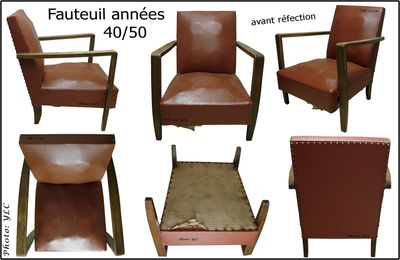 Fauteuil années 50 style studio, Du Siège Au Décor,Tapissier d'Ameublement