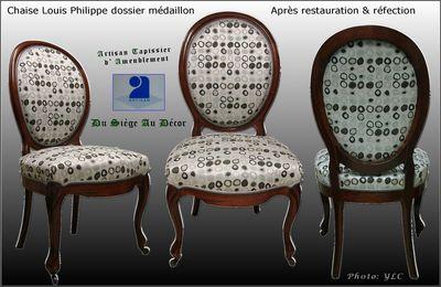Chaise médaillon Louis Philippe, Du Siège Au Décor,Tapissier d'Ameublement