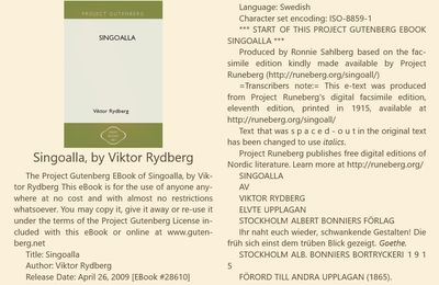 Singoalla, de Viktor Rydberg