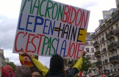Manif du 1er mai de barrage à Le Pen et contre Macron