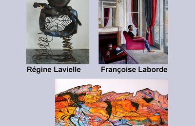 Régine Lavielle, Françoise Laborde et Catherine Bosser à la galerie des Corsaires à Bayonne