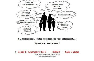 Réunions FCPE rentrée 2015