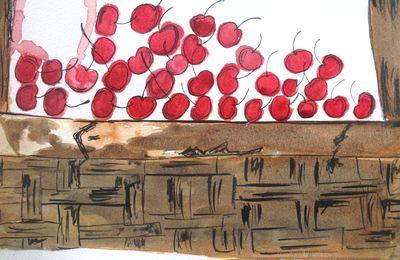 """Atelier dessin : des cerises qui semblent bien dynamiques pour """"une nature morte"""""""